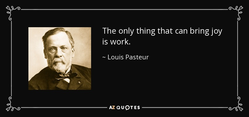 The only thing that can bring joy is work. - Louis Pasteur