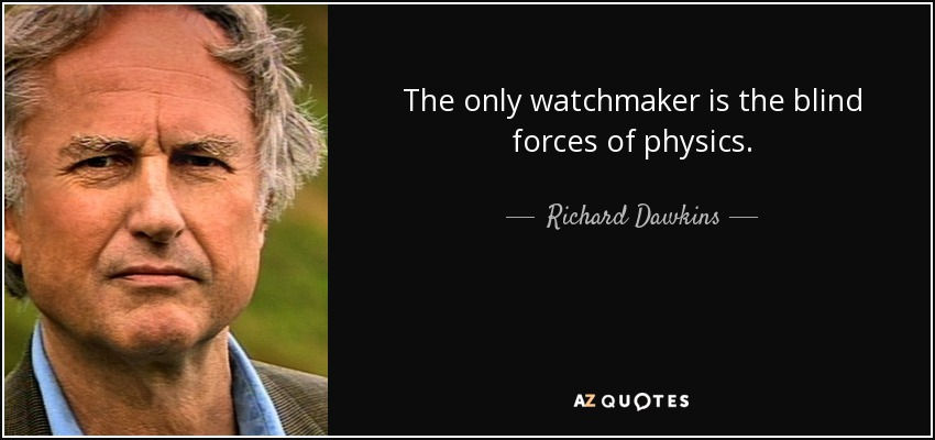 The only watchmaker is the blind forces of physics. - Richard Dawkins