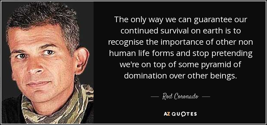 The only way we can guarantee our continued survival on earth is to recognise the importance of other non human life forms and stop pretending we're on top of some pyramid of domination over other beings. - Rod Coronado