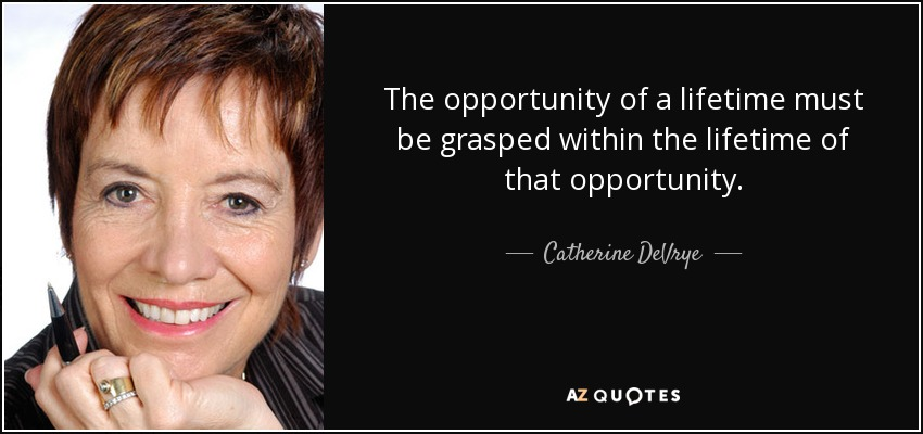 The opportunity of a lifetime must be grasped within the lifetime of that opportunity. - Catherine DeVrye