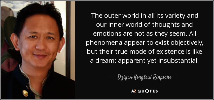 The outer world in all its variety and our inner world of thoughts and emotions are not as they seem. All phenomena appear to exist objectively, but their true mode of existence is like a dream: apparent yet insubstantial. - Dzigar Kongtrul Rinpoche
