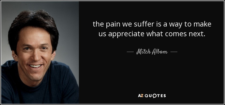 the pain we suffer is a way to make us appreciate what comes next. - Mitch Albom