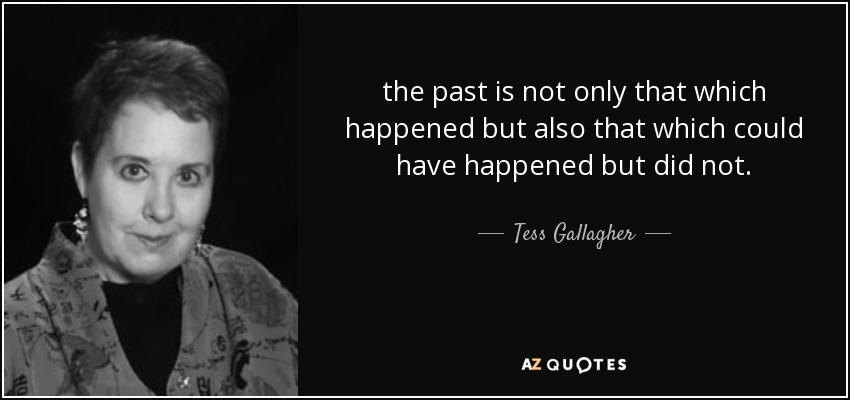 the past is not only that which happened but also that which could have happened but did not. - Tess Gallagher