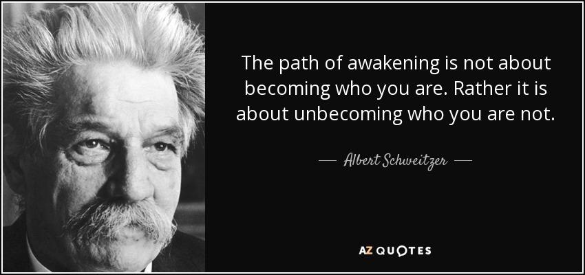 The path of awakening is not about becoming who you are. Rather it is about unbecoming who you are not. - Albert Schweitzer