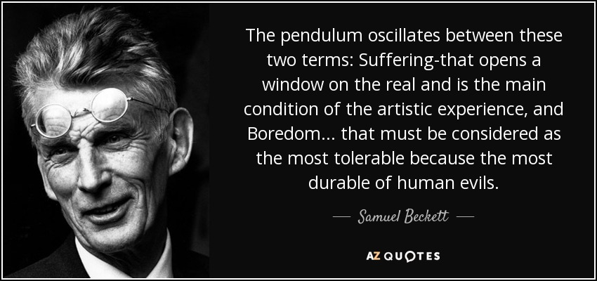 The pendulum oscillates between these two terms suffering that opens