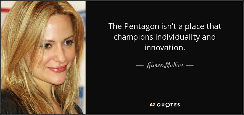 The Pentagon isn't a place that champions individuality and innovation. - Aimee Mullins