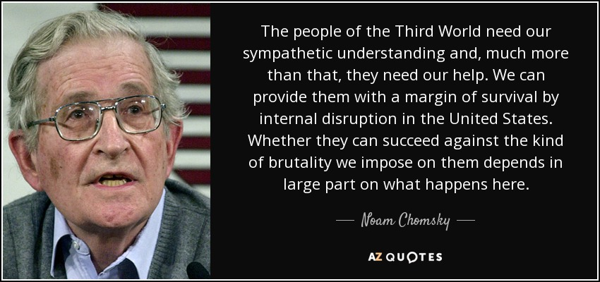 The people of the Third World need our sympathetic understanding and, much more than that, they need our help. We can provide them with a margin of survival by internal disruption in the United States. Whether they can succeed against the kind of brutality we impose on them depends in large part on what happens here. - Noam Chomsky