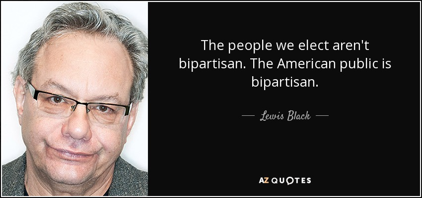 The people we elect aren't bipartisan. The American public is bipartisan. - Lewis Black