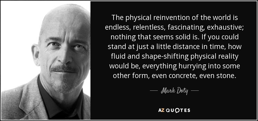 The physical reinvention of the world is endless, relentless, fascinating, exhaustive; nothing that seems solid is. If you could stand at just a little distance in time, how fluid and shape-shifting physical reality would be, everything hurrying into some other form, even concrete, even stone. - Mark Doty