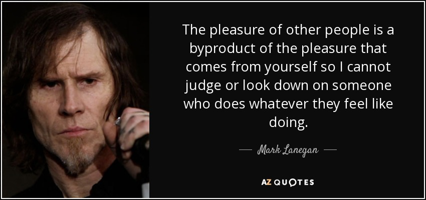 The pleasure of other people is a byproduct of the pleasure that comes from yourself so I cannot judge or look down on someone who does whatever they feel like doing. - Mark Lanegan