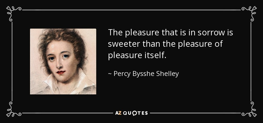 The pleasure that is in sorrow is sweeter than the pleasure of pleasure itself. - Percy Bysshe Shelley