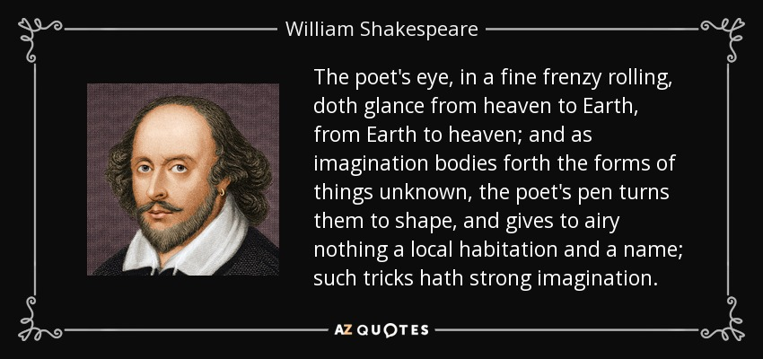 The poet's eye, in a fine frenzy rolling, doth glance from heaven to Earth, from Earth to heaven; and as imagination bodies forth the forms of things unknown, the poet's pen turns them to shape, and gives to airy nothing a local habitation and a name; such tricks hath strong imagination. - William Shakespeare