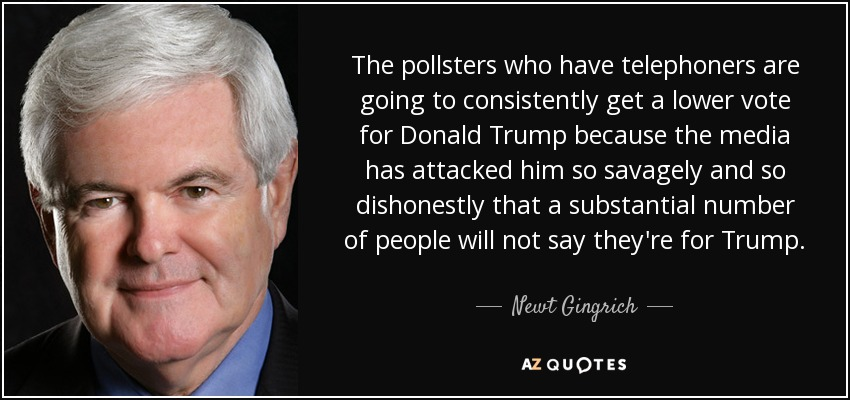 The pollsters who have telephoners are going to consistently get a lower vote for Donald Trump because the media has attacked him so savagely and so dishonestly that a substantial number of people will not say they're for Trump. - Newt Gingrich