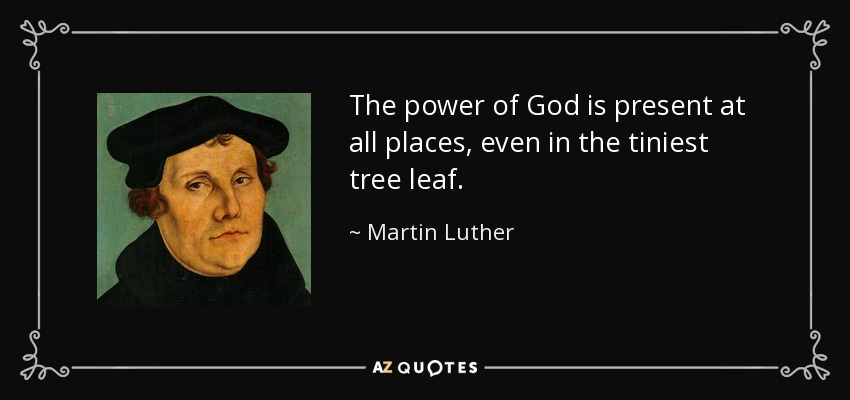 The power of God is present at all places, even in the tiniest tree leaf. - Martin Luther