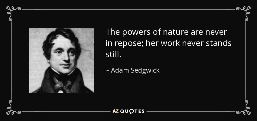 The powers of nature are never in repose; her work never stands still. - Adam Sedgwick