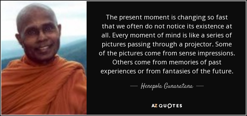 The present moment is changing so fast that we often do not notice its existence at all. Every moment of mind is like a series of pictures passing through a projector. Some of the pictures come from sense impressions. Others come from memories of past experiences or from fantasies of the future. - Henepola Gunaratana