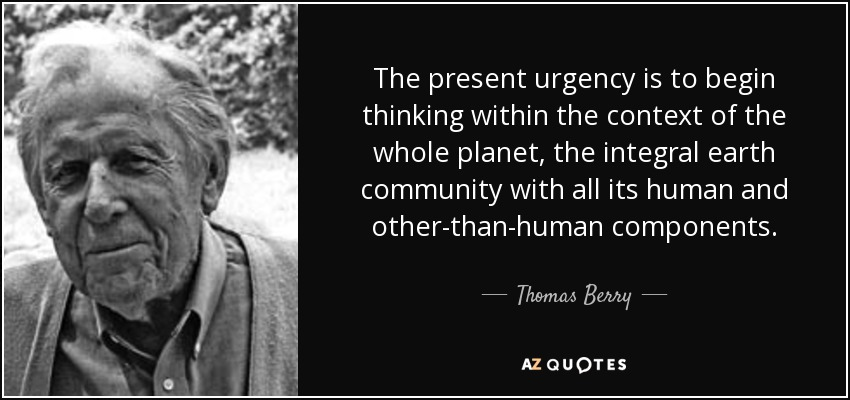 The present urgency is to begin thinking within the context of the whole planet, the integral earth community with all its human and other-than-human components. - Thomas Berry