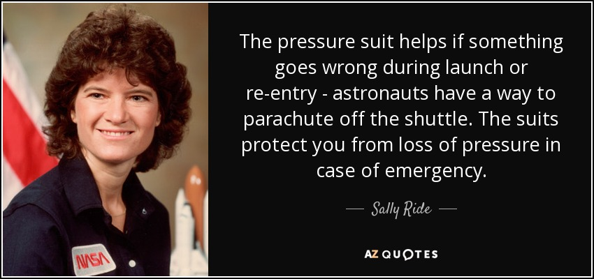 The pressure suit helps if something goes wrong during launch or re-entry - astronauts have a way to parachute off the shuttle. The suits protect you from loss of pressure in case of emergency. - Sally Ride