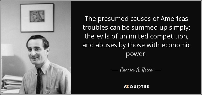 The presumed causes of Americas troubles can be summed up simply: the evils of unlimited competition, and abuses by those with economic power. - Charles A. Reich