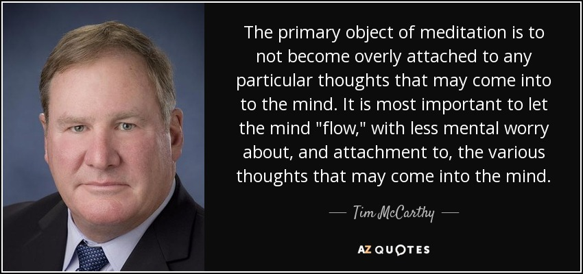 The primary object of meditation is to not become overly attached to any particular thoughts that may come into to the mind. It is most important to let the mind