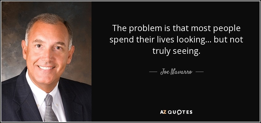 The problem is that most people spend their lives looking... but not truly seeing. - Joe Navarro
