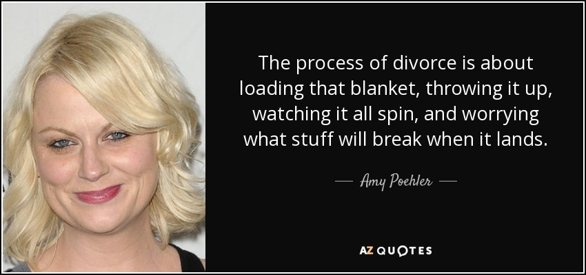 The process of divorce is about loading that blanket, throwing it up, watching it all spin, and worrying what stuff will break when it lands. - Amy Poehler