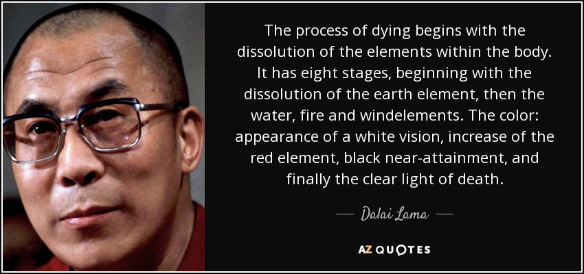 The process of dying begins with the dissolution of the elements within the body. It has eight stages, beginning with the dissolution of the earth element, then the water, fire and windelements. The color: appearance of a white vision, increase of the red element, black near-attainment, and finally the clear light of death. - Dalai Lama