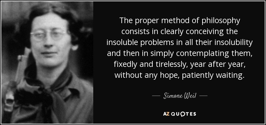 The proper method of philosophy consists in clearly conceiving the insoluble problems in all their insolubility and then in simply contemplating them, fixedly and tirelessly, year after year, without any hope, patiently waiting. - Simone Weil