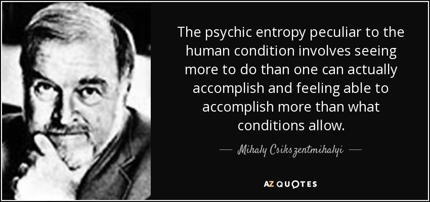 The psychic entropy peculiar to the human condition involves seeing more to do than one can actually accomplish and feeling able to accomplish more than what conditions allow. - Mihaly Csikszentmihalyi