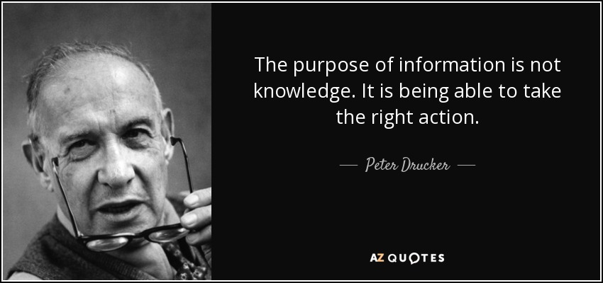 peter drucker quote the purpose of information is not knowledge it