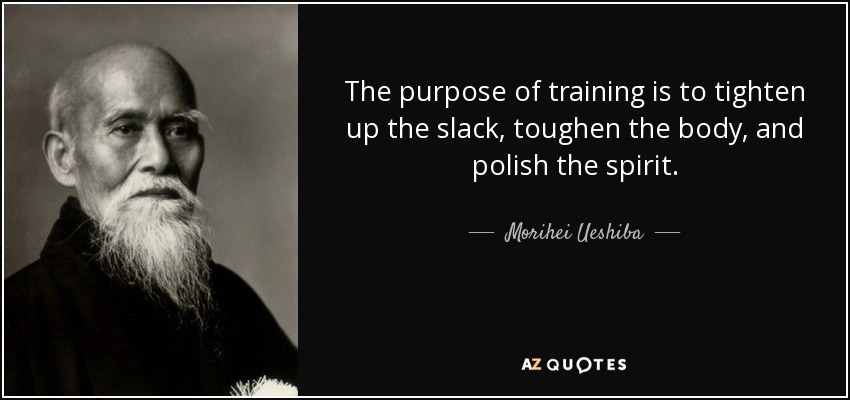 The purpose of training is to tighten up the slack, toughen the body, and polish the spirit. - Morihei Ueshiba