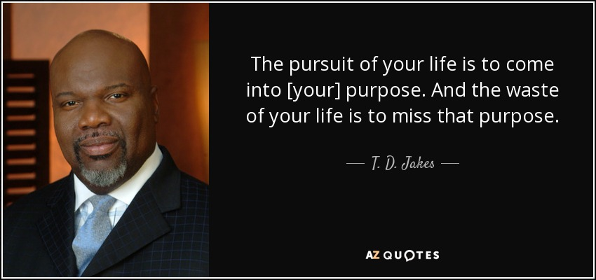 The pursuit of your life is to come into [your] purpose. And the waste of your life is to miss that purpose. - T. D. Jakes