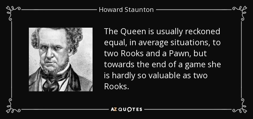 The Queen is usually reckoned equal, in average situations, to two Rooks and a Pawn, but towards the end of a game she is hardly so valuable as two Rooks. - Howard Staunton