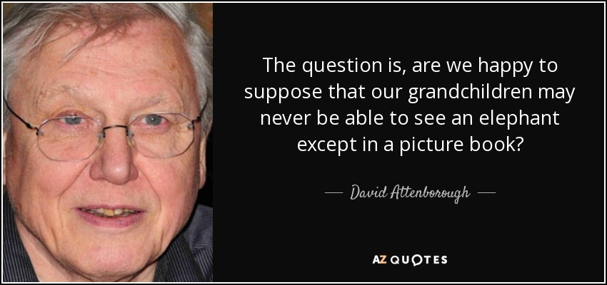 The question is, are we happy to suppose that our grandchildren may never be able to see an elephant except in a picture book? - David Attenborough