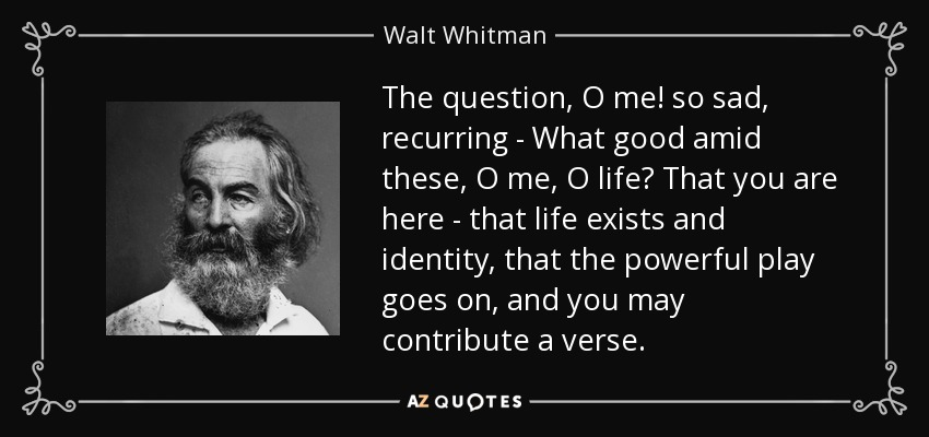 The question, O me! so sad, recurring - What good amid these, O me, O life? That you are here - that life exists and identity, that the powerful play goes on, and you may contribute a verse. - Walt Whitman