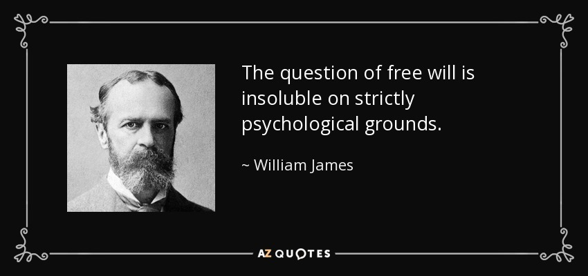 The question of free will is insoluble on strictly psychological grounds. - William James