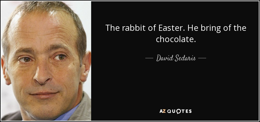 The rabbit of Easter. He bring of the chocolate. - David Sedaris