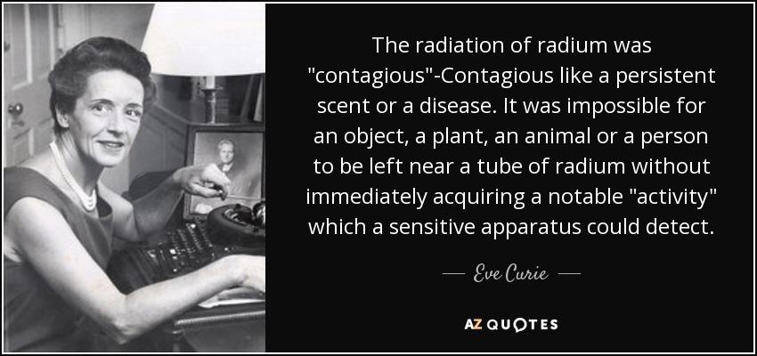 The radiation of radium was