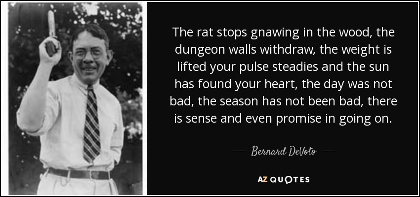The rat stops gnawing in the wood, the dungeon walls withdraw, the weight is lifted your pulse steadies and the sun has found your heart, the day was not bad, the season has not been bad, there is sense and even promise in going on. - Bernard DeVoto