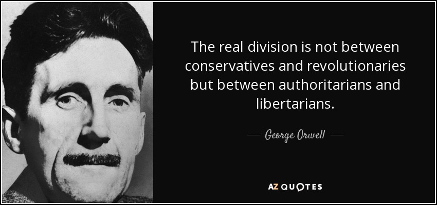 The real division is not between conservatives and revolutionaries but between authoritarians and libertarians. - George Orwell