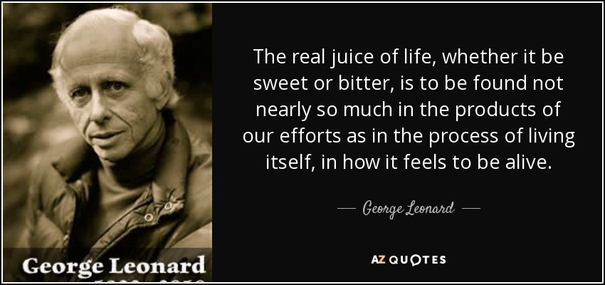 The real juice of life, whether it be sweet or bitter, is to be found not nearly so much in the products of our efforts as in the process of living itself, in how it feels to be alive. - George Leonard