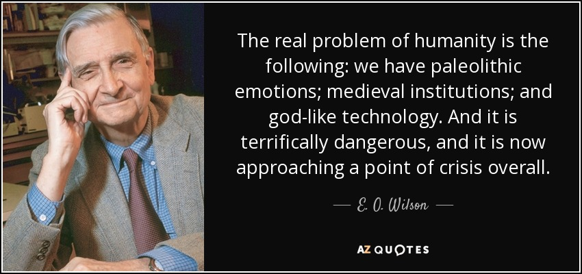 The real problem of humanity is the following: we have paleolithic emotions; medieval institutions; and god-like technology. And it is terrifically dangerous, and it is now approaching a point of crisis overall. - E. O. Wilson