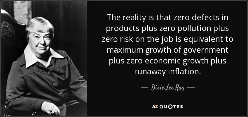 The reality is that zero defects in products plus zero pollution plus zero risk on the job is equivalent to maximum growth of government plus zero economic growth plus runaway inflation. - Dixie Lee Ray