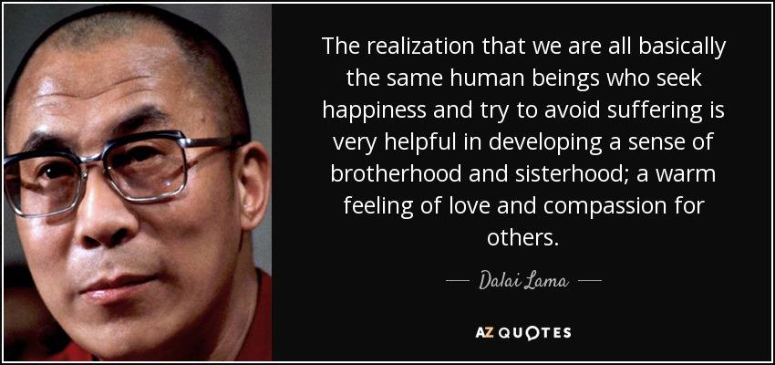 The realization that we are all basically the same human beings who seek happiness and try to avoid suffering is very helpful in developing a sense of brotherhood and sisterhood; a warm feeling of love and compassion for others. - Dalai Lama