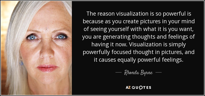 The reason visualization is so powerful is because as you create pictures in your mind of seeing yourself with what it is you want, you are generating thoughts and feelings of having it now. Visualization is simply powerfully focused thought in pictures, and it causes equally powerful feelings. - Rhonda Byrne