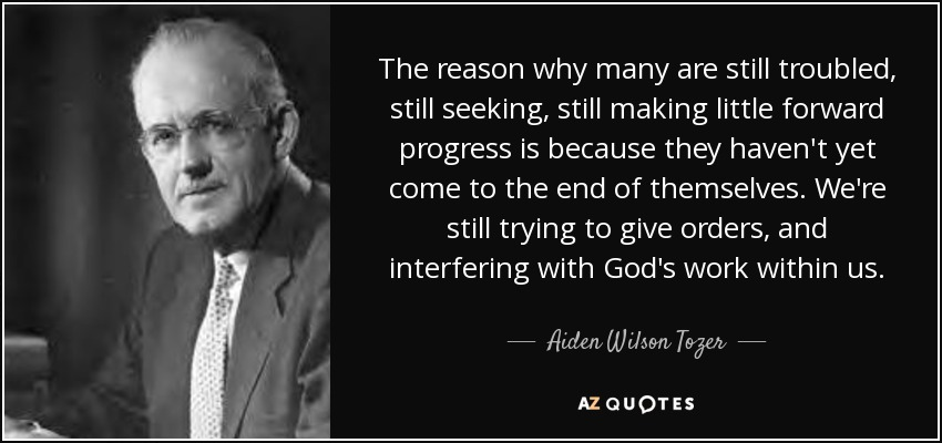The reason why many are still troubled, still seeking, still making little forward progress is because they haven't yet come to the end of themselves. We're still trying to give orders, and interfering with God's work within us. - Aiden Wilson Tozer