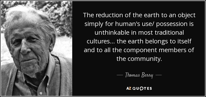 The reduction of the earth to an object simply for human's use/ possession is unthinkable in most traditional cultures... the earth belongs to itself and to all the component members of the community. - Thomas Berry