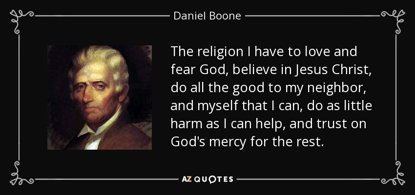 Image result for daniel boone religion