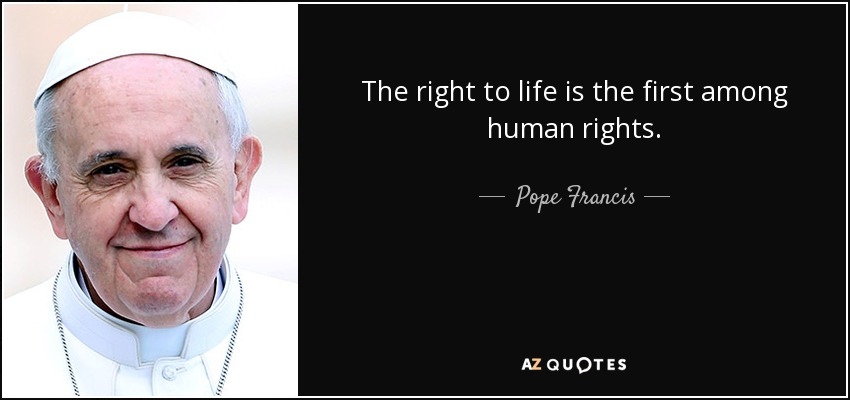 The right to life is the first among human rights. - Pope Francis