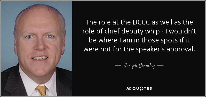 The role at the DCCC as well as the role of chief deputy whip - I wouldn't be where I am in those spots if it were not for the speaker's approval. - Joseph Crowley
